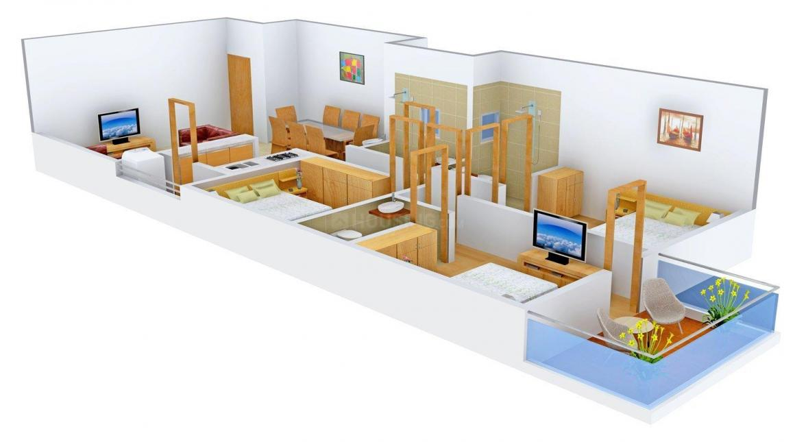 Floor Plan Image of 1550 - 1700 Sq.ft 3 BHK Apartment for buy in Universal Motif