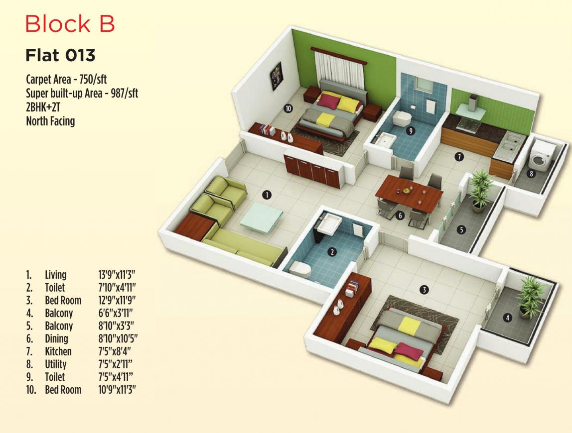 Floor Plan Image of 431 - 1416 Sq.ft 1 BHK Apartment for buy in MJ Lifestyle Astro