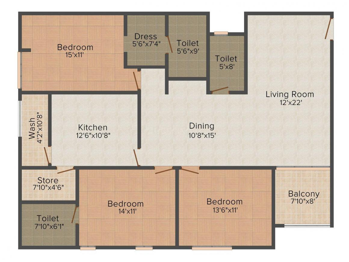 Floor Plan Image of 1582.0 - 2786.0 Sq.ft 3 BHK Apartment for buy in Almas Atlantis