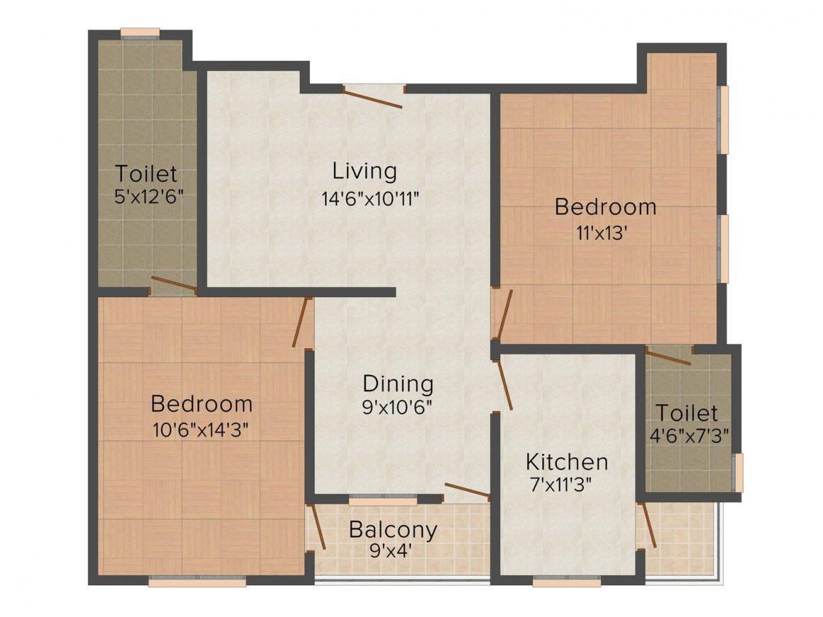 Floor Plan Image of 0 - 906 Sq.ft 2 BHK Apartment for buy in Icarus Gopalpura