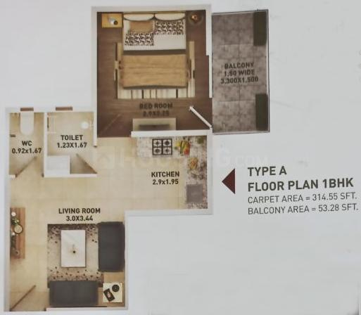 Pyramid Altia Floor Plan: 1 BHK Unit with Built up area of 315 sq.ft 1