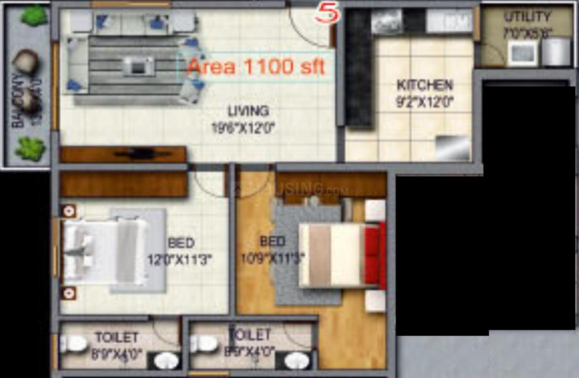 Comfort Lalbagh Residency Floor Plan: 2 BHK Unit with Built up area of 1100 sq.ft 1