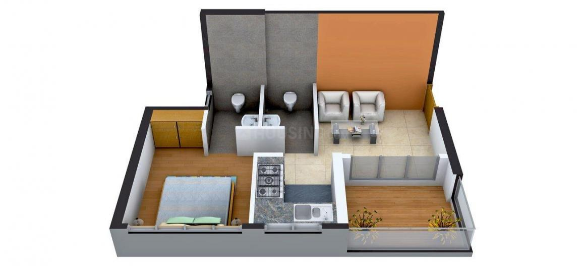 Floor Plan Image of 312.66 - 589.22 Sq.ft 1 BHK Apartment for buy in A & O Excellente