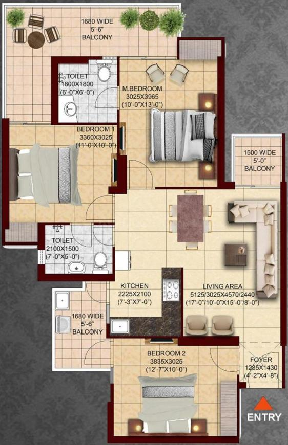 SKA Divya Towers Floor Plan: 3 BHK Unit with Built up area of 1260 sq.ft 1