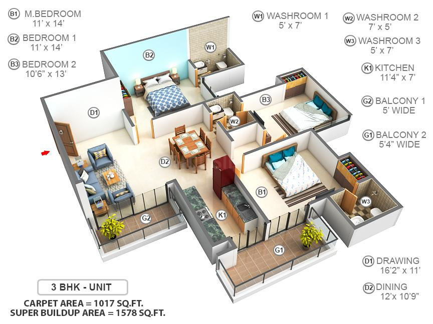 Tulip Violet Floor Plan: 3 BHK Unit with Built up area of 1017 sq.ft 1