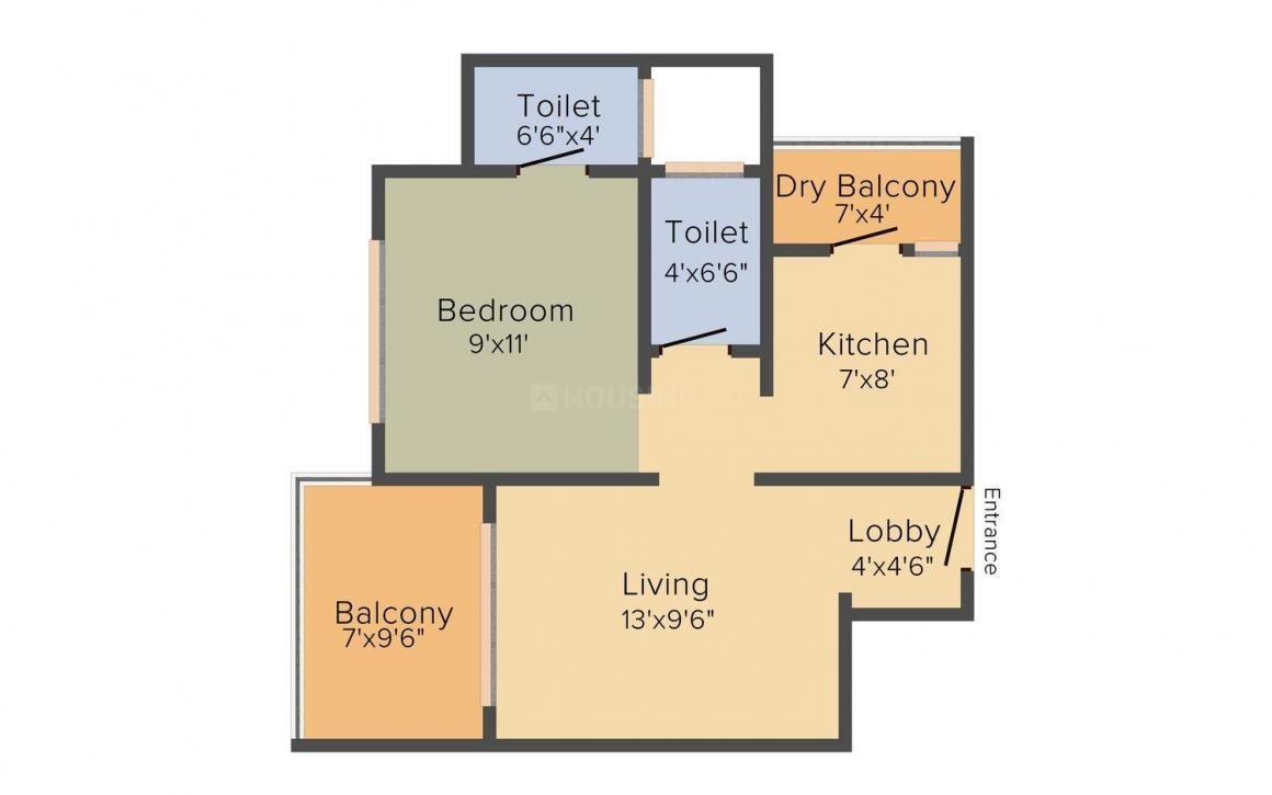 Floor Plan Image of 410.0 - 1275.0 Sq.ft 1 BHK Apartment for buy in Parth Jainam