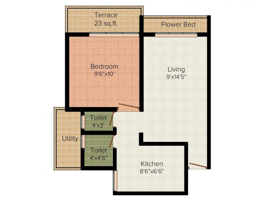 Floor Plan Image of 0 - 675.0 Sq.ft 1 BHK Apartment for buy in Innovative Hills