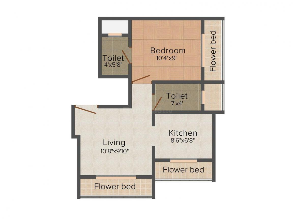Shivtej Darshan Floor Plan: 1 BHK Unit with Built up area of 600 sq.ft 1