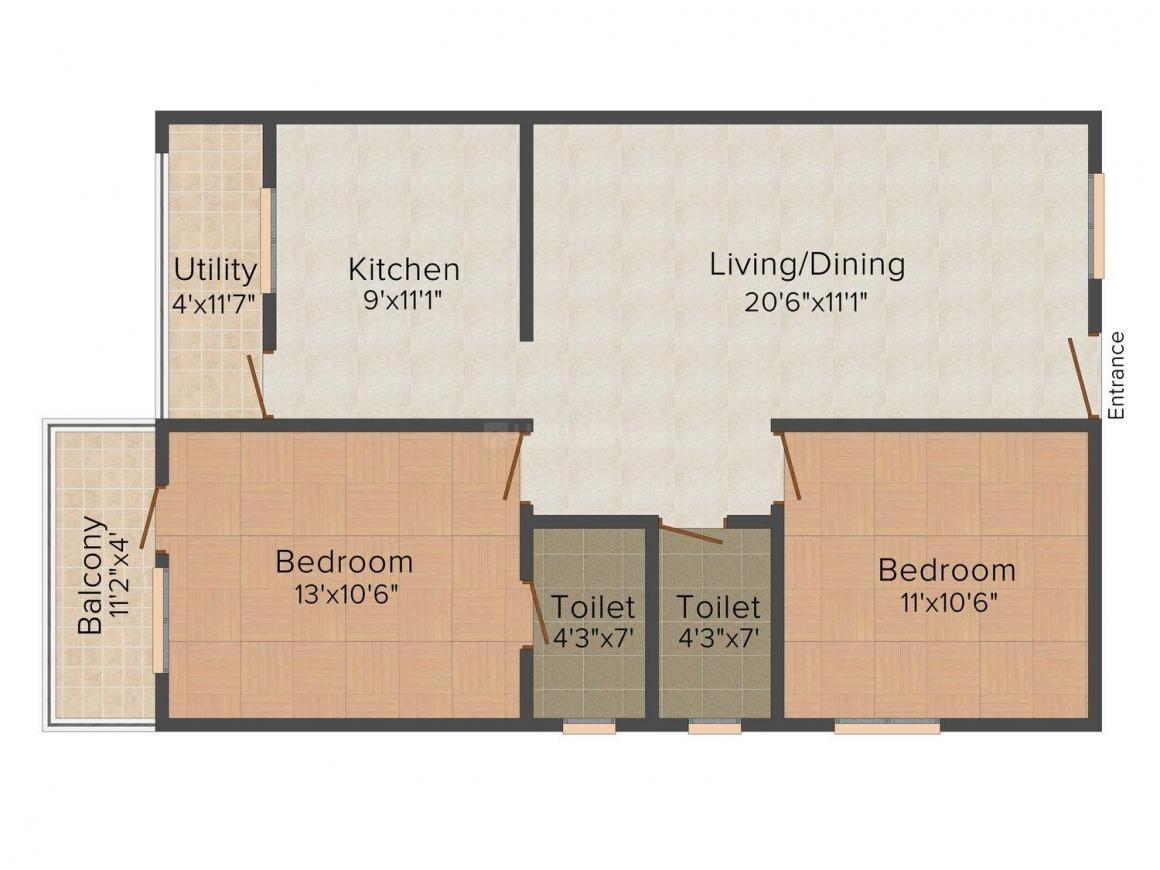 Xotic Bliss Floor Plan: 2 BHK Unit with Built up area of 997 sq.ft 1