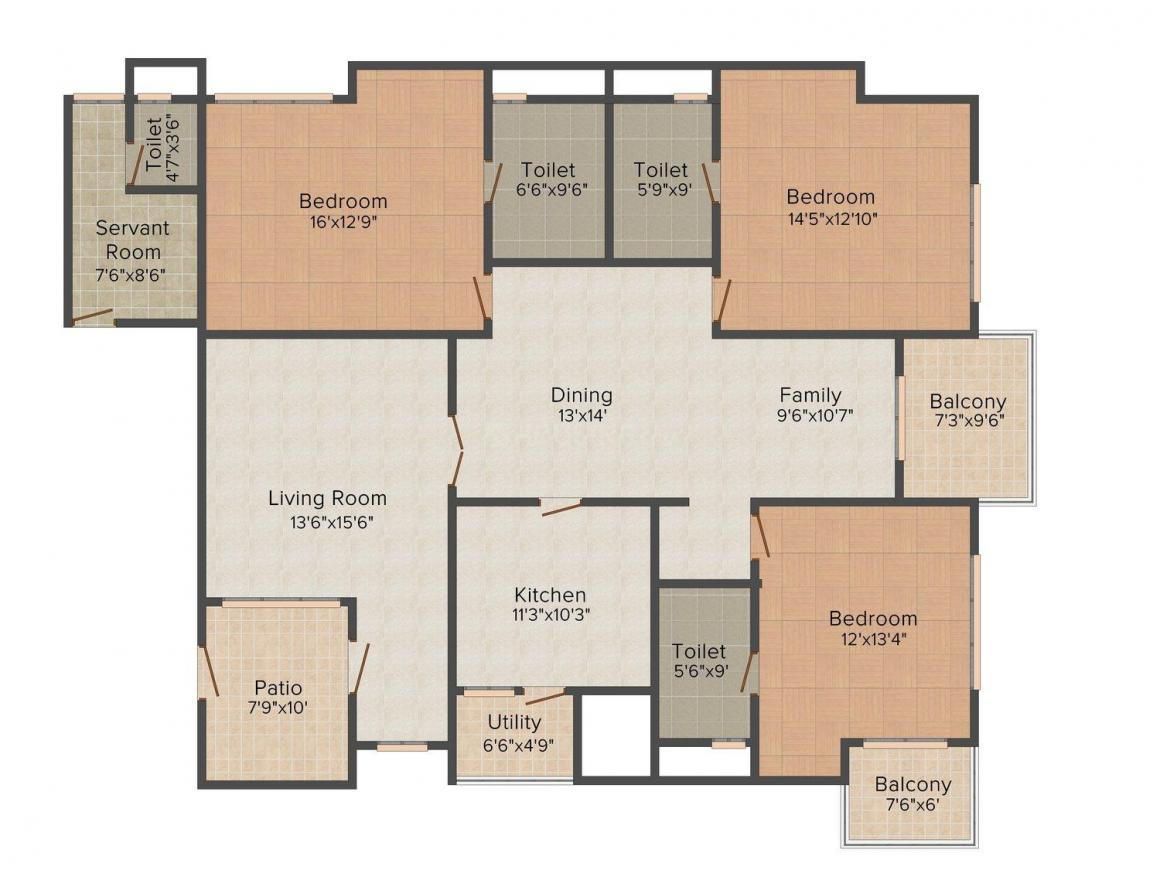Floor Plan Image of 2452.0 - 2506.0 Sq.ft 3 BHK Apartment for buy in Newry Elite