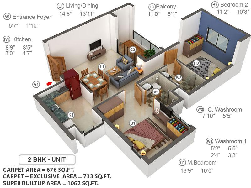 Brigade Xanadu Phase 2 Floor Plan: 2 BHK Unit with Built up area of 678 sq.ft 1