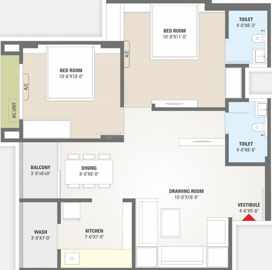 Shree Ugati Residency Floor Plan: 2 BHK Unit with Built up area of 603 sq.ft 1