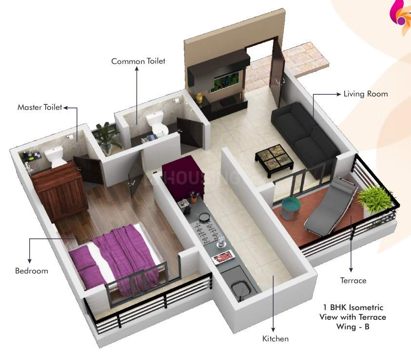 LJ Tanna Panorama Floor Plan: 1 BHK Unit with Built up area of 477 sq.ft 1