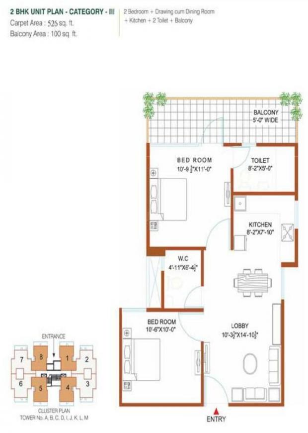 Green Court Floor Plan: 2 BHK Unit with Built up area of 526 sq.ft 1