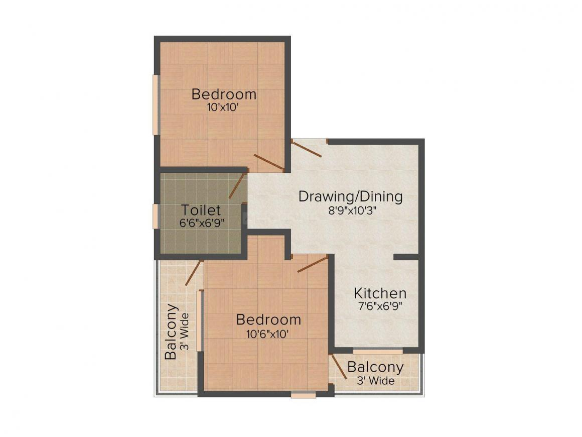 Sareen Galaxy Apartment Floor Plan: 2 BHK Unit with Built up area of 630 sq.ft 1