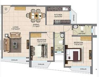 Mahavir Helicon Heights Floor Plan: 2 BHK Unit with Built up area of 818 sq.ft 1