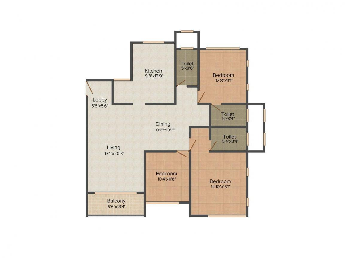 Floor Plan Image of 0 - 1400.0 Sq.ft 3 BHK Apartment for buy in Rodium Xczar