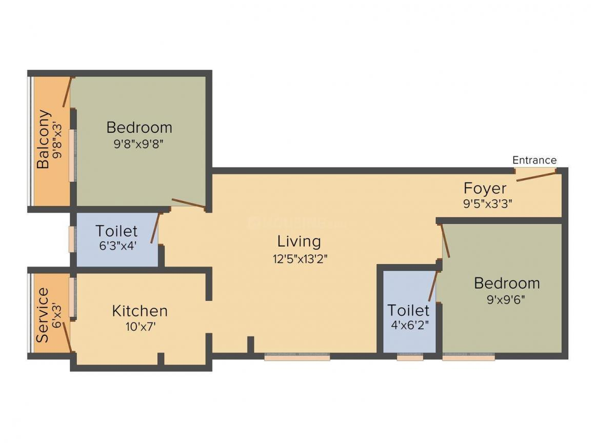 Anandha Avant Garde Floor Plan: 2 BHK Unit with Built up area of 825 sq.ft 1