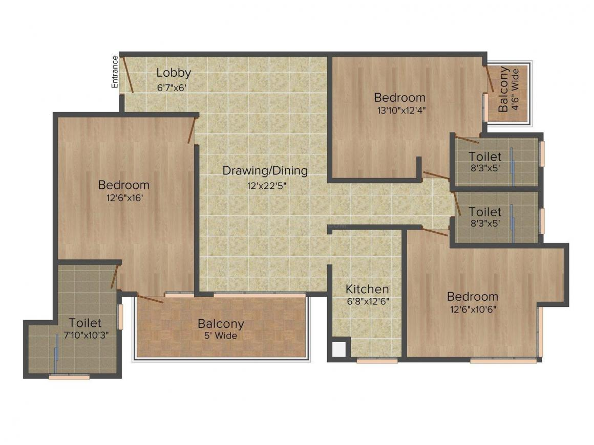 Omaxe Spa Village Floor Plan: 3 BHK Unit with Built up area of 1600 sq.ft 1