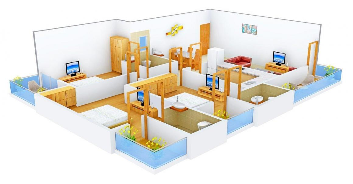Floor Plan Image of 0 - 1596.0 Sq.ft 3 BHK Apartment for buy in SDC Misty Meadows