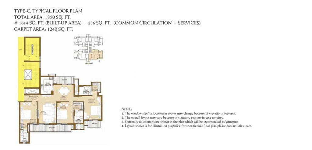 ATS Picturesque Reprieves Phase 1 Floor Plan: 3 BHK Unit with Built up area of 1240 sq.ft 1