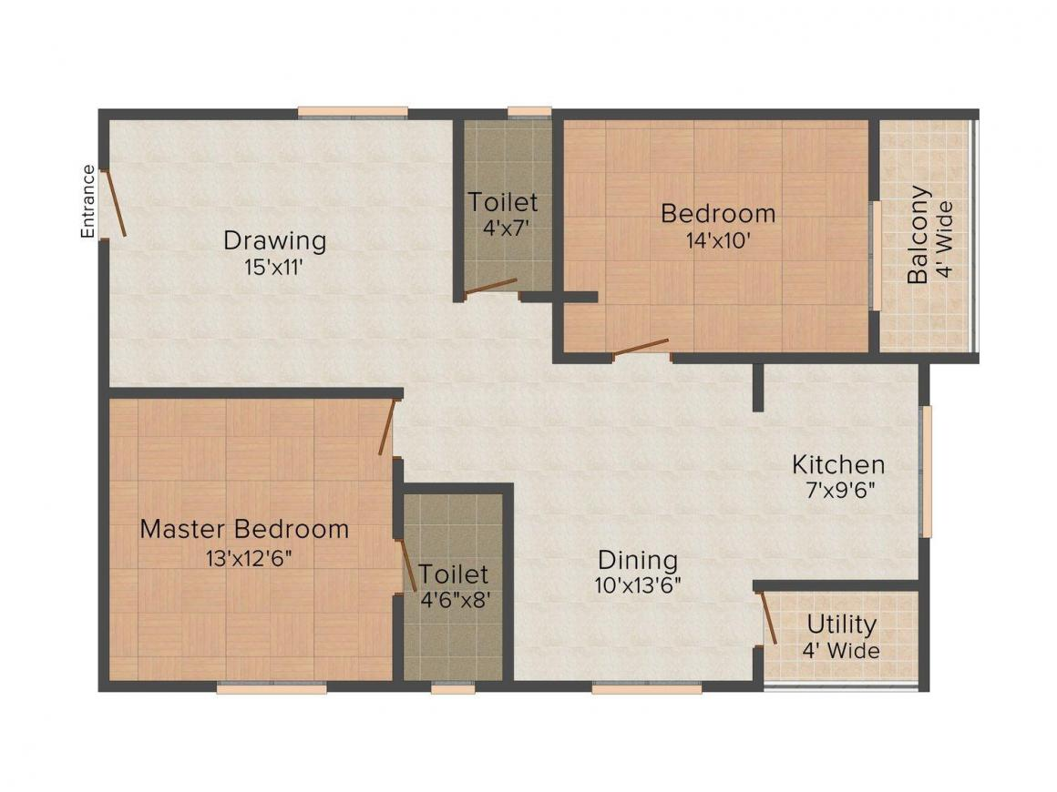 Prime B Block Floor Plan: 2 BHK Unit with Built up area of 1170 sq.ft 1