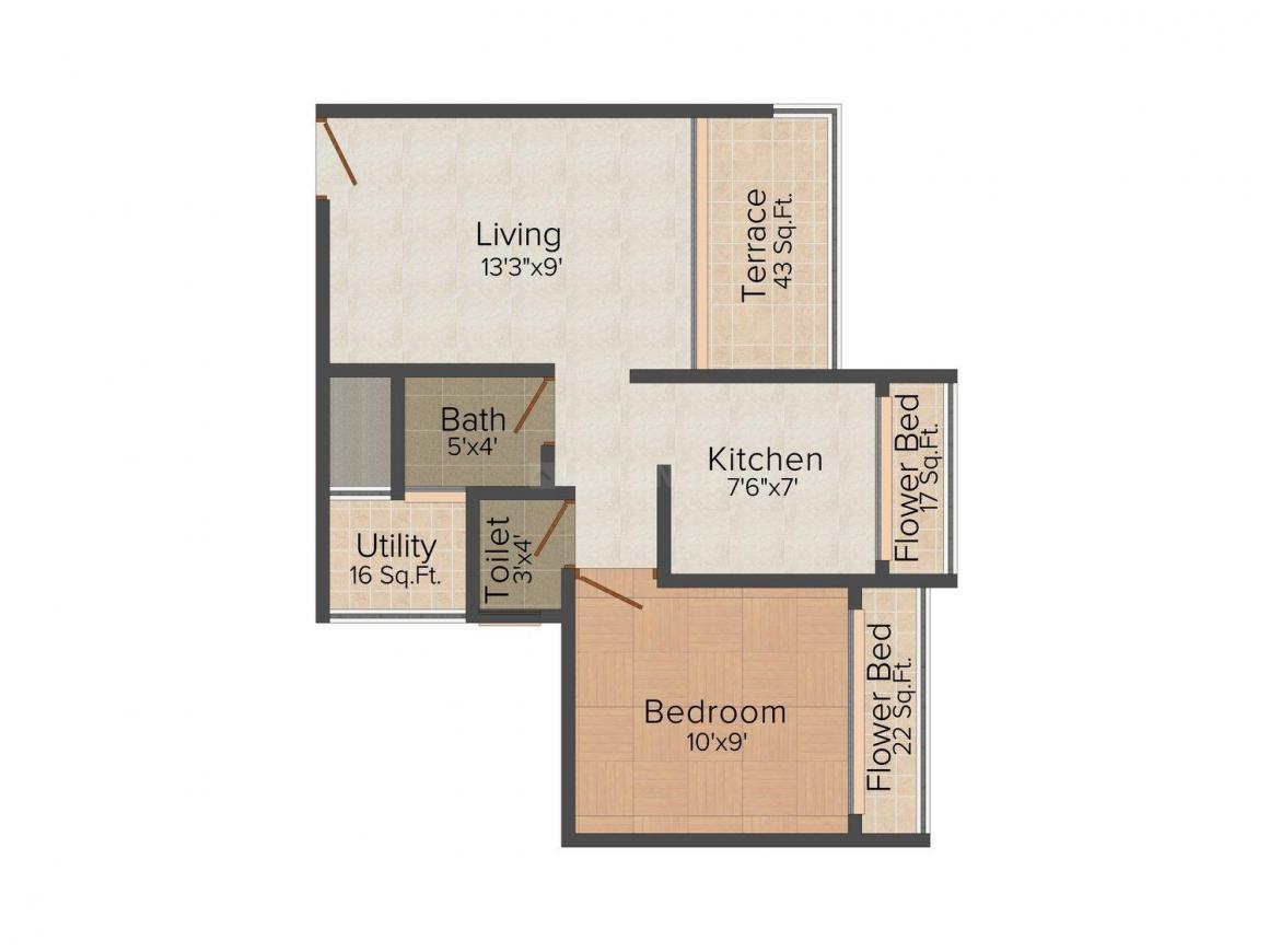 Floor Plan Image of 650.0 - 670.0 Sq.ft 1 BHK Apartment for buy in Urja Vijay