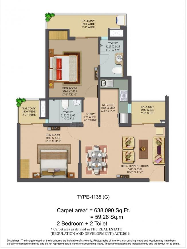 LandCraft Golflinks Apartments Floor Plan: 2 BHK Unit with Built up area of 1135 sq.ft 1