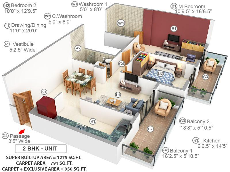 Ashiana Anmol Floor Plan: 2 BHK Unit with Built up area of 791 sq.ft 1