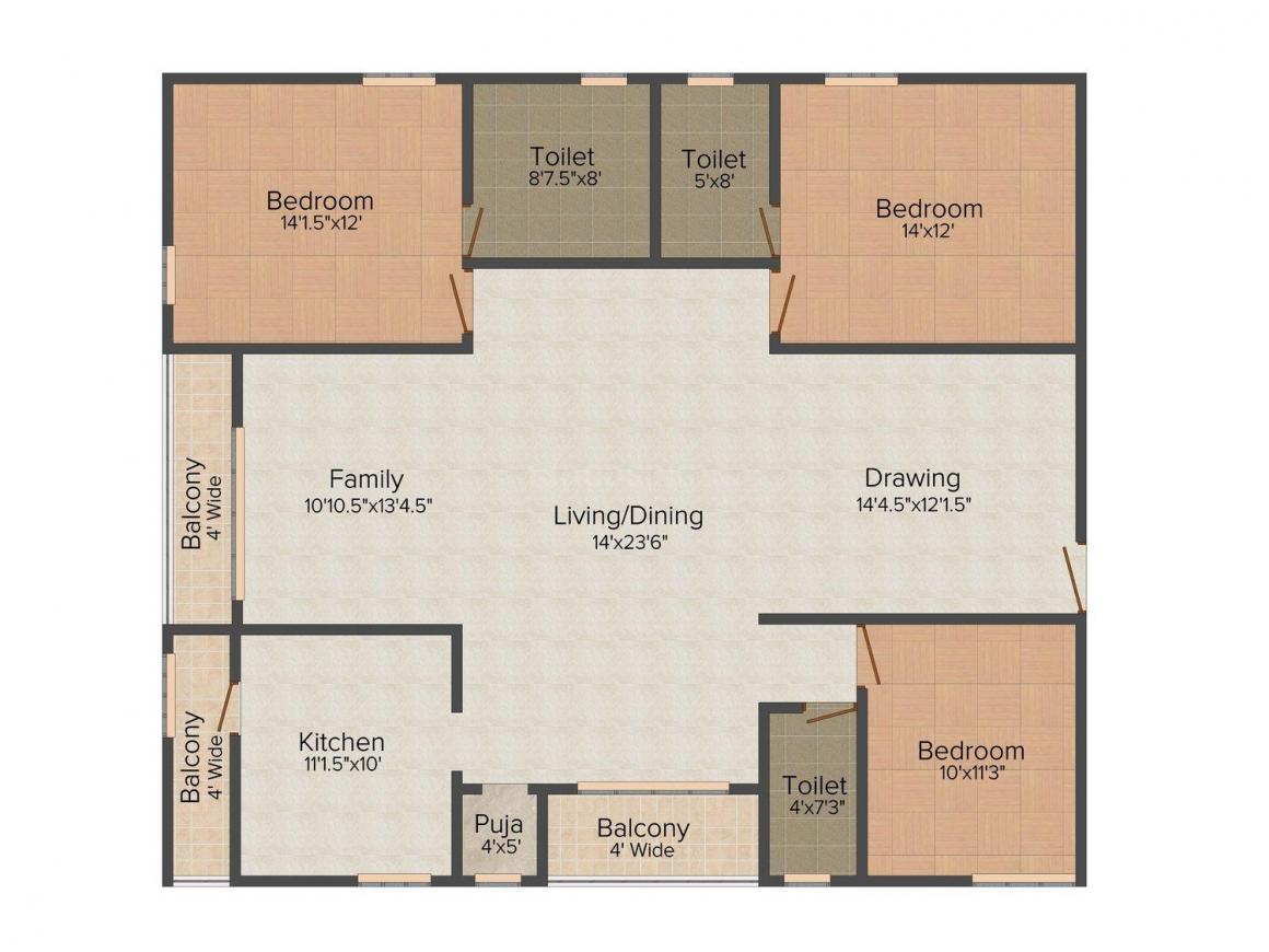 Kellen @ CMC Floor Plan: 3 BHK Unit with Built up area of 2100 sq.ft 1