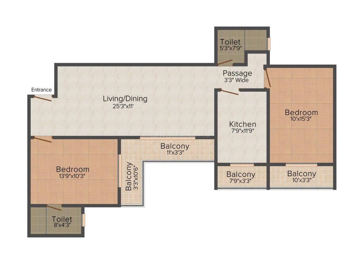 SDS Raheja Residency Floor Plan: 2 BHK Unit with Built up area of 1175 sq.ft 1