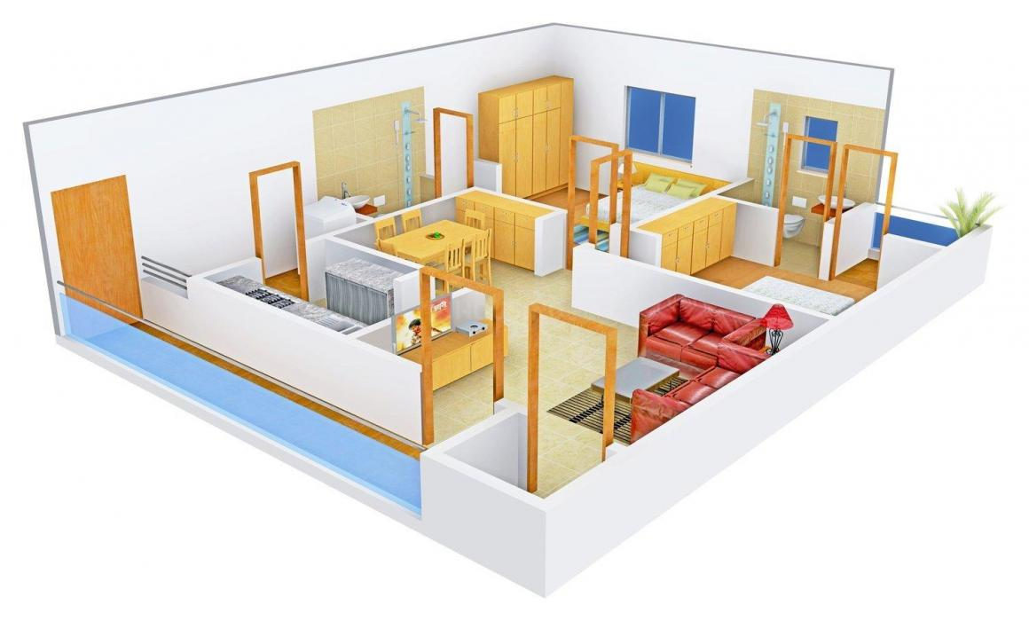 Floor Plan Image of 1240.0 - 1655.0 Sq.ft 2 BHK Apartment for buy in Perfect Eden Elite
