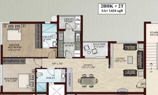 Flying Falling Waters Floor Plan: 2 BHK Unit with Built up area of 1434 sq.ft 1