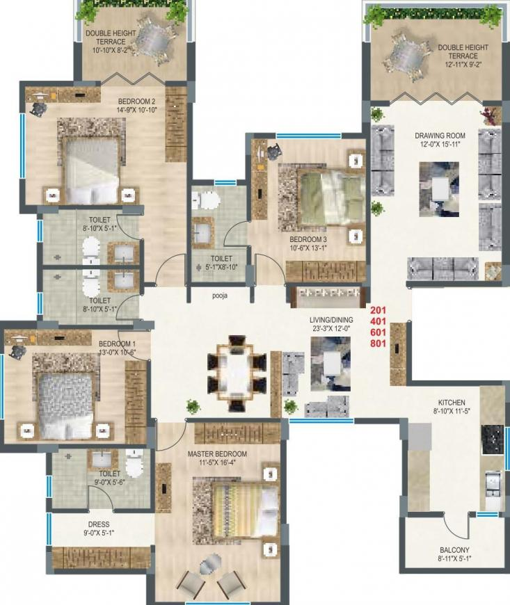 SDPL Arihant Floor Plan: 4 BHK Unit with Built up area of 1517 sq.ft 1