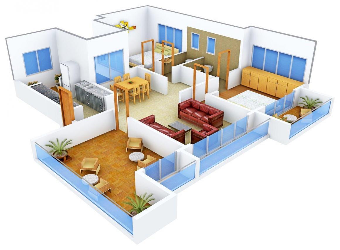 Floor Plan Image of 1285.0 - 1324.0 Sq.ft 2 BHK Apartment for buy in Bhairaav Four Seasons