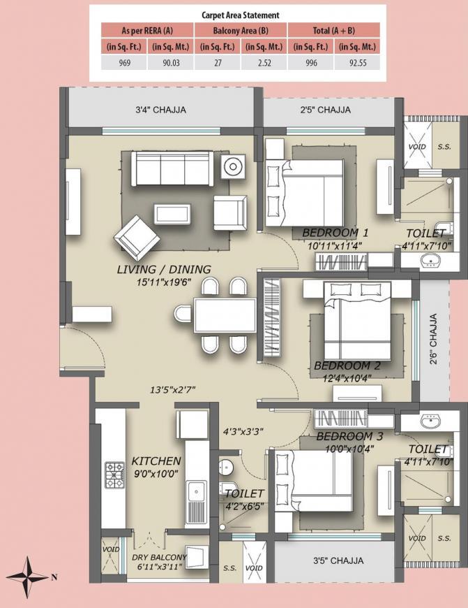 Skyline Magnus Floor Plan: 3 BHK Unit with Built up area of 92.53 sq.mt 1