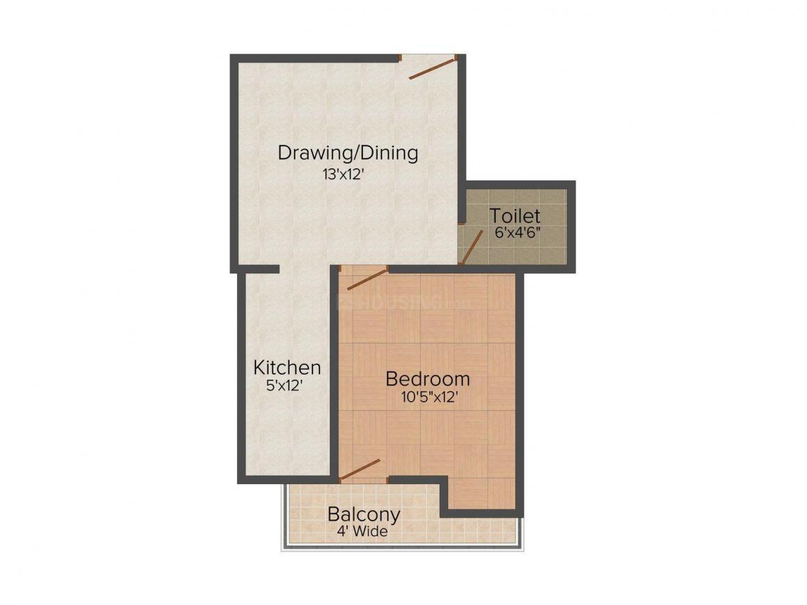 Shiva Shri Sai Residency - 2 Floor Plan: 1 BHK Unit with Built up area of 650 sq.ft 1