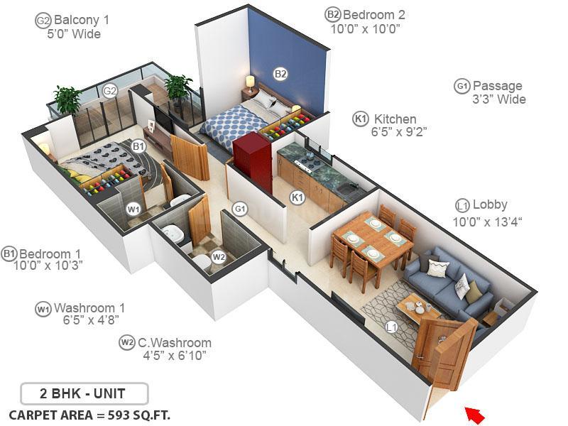 Conscient Habitat Residences Floor Plan: 2 BHK Unit with Built up area of 594 sq.ft 1