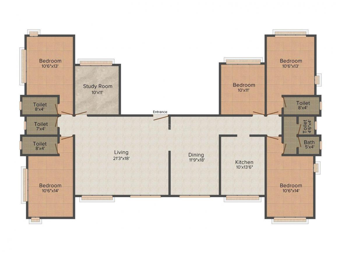 Floor Plan Image of 916.0 - 1841.0 Sq.ft 3 BHK Apartment for buy in Kashmira Solitaire