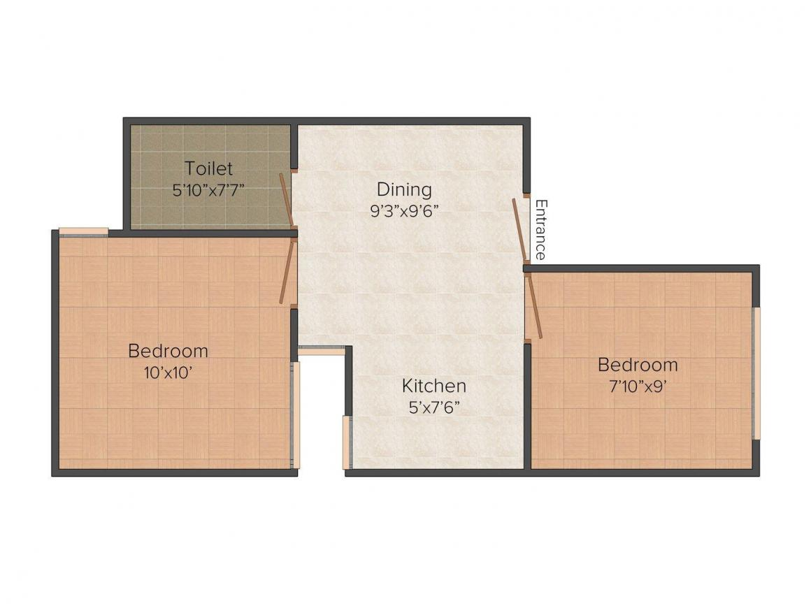 Floor Plan Image of 0 - 450 Sq.ft 2 BHK Row House for buy in Khatu Shyam 50 Yrd