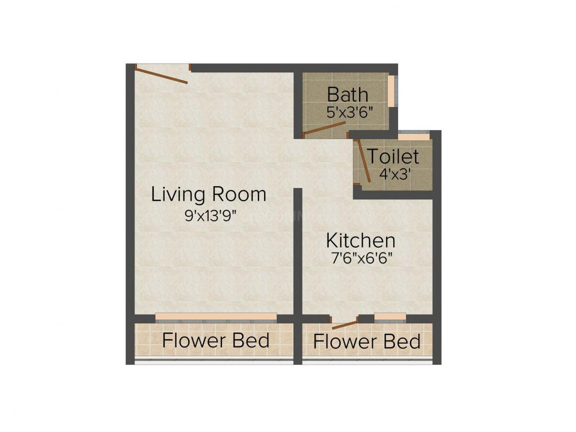 Floor Plan Image of 0 - 380 Sq.ft 1 RK Apartment for buy in Himalaya Complex