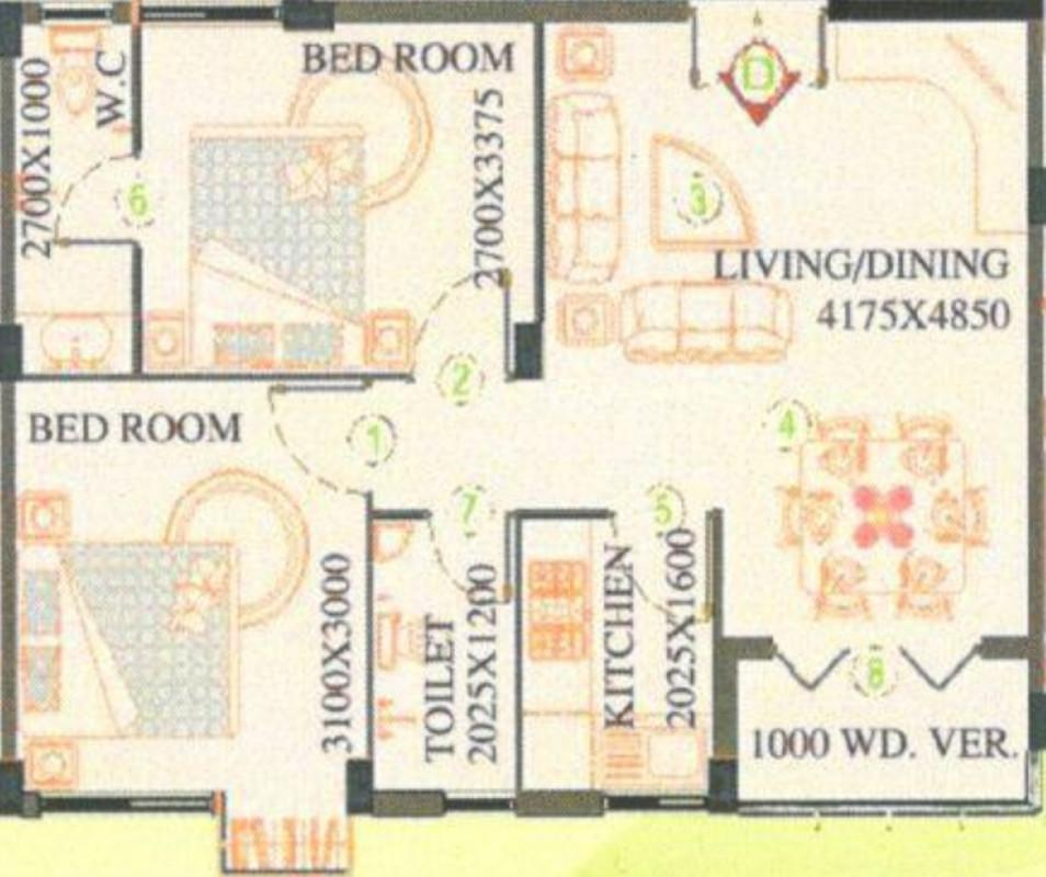 SPS Vsun Aavas Residency Floor Plan: 2 BHK Unit with Built up area of 845 sq.ft 1