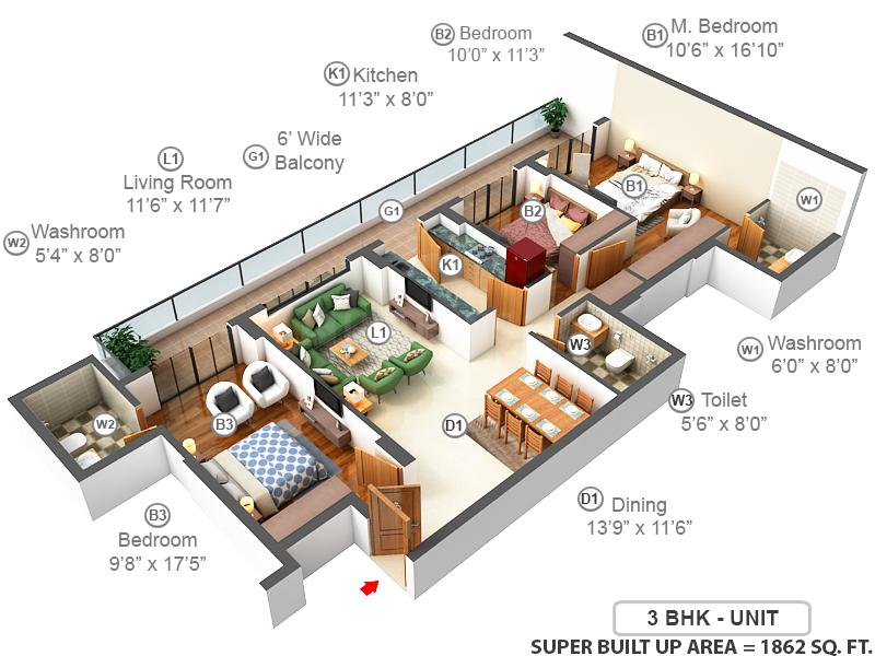 DLF The Skycourt Floor Plan: 3 BHK Unit with Built up area of 1846 sq.ft 1