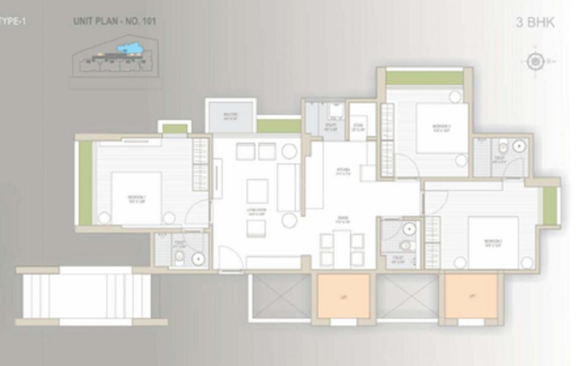 Sun Suryansh Elegance Floor Plan: 3 BHK Unit with Built up area of 1395 sq.ft 1