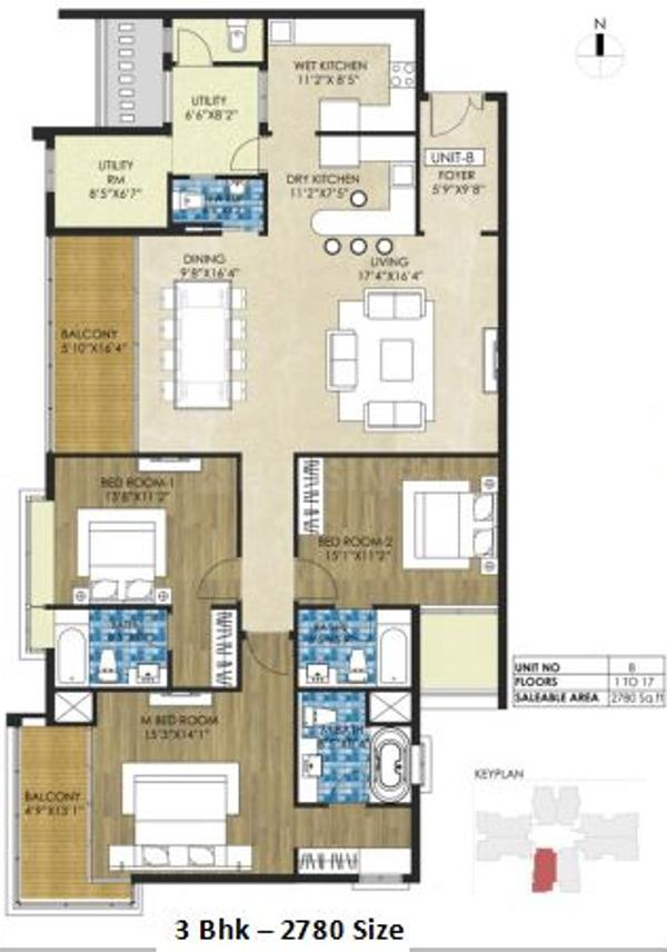 TVH Quadrant Floor Plan: 3 BHK Unit with Built up area of 2780 sq.ft 1