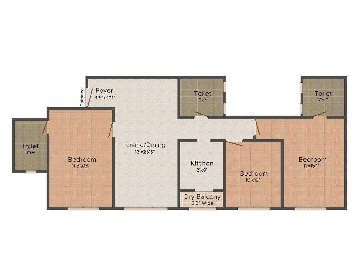 Floor Plan Image of 1121.0 - 2809.0 Sq.ft 3 BHK Apartment for buy in Midcity Shikhar