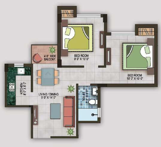 Magnolia Sports City Floor Plan: 2 BHK Unit with Built up area of 670 sq.ft 1