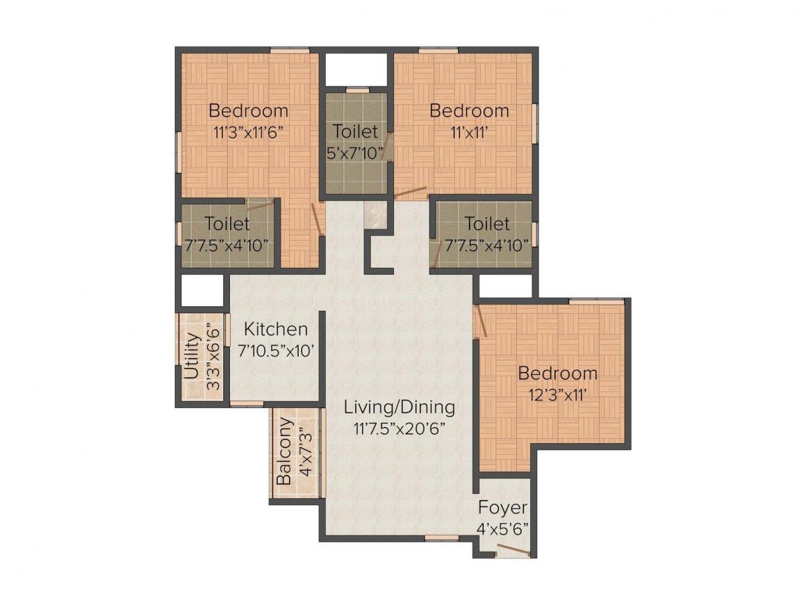 Floor Plan Image of 1335 - 1350 Sq.ft 3 BHK Apartment for buy in Khivraj Indus Amber