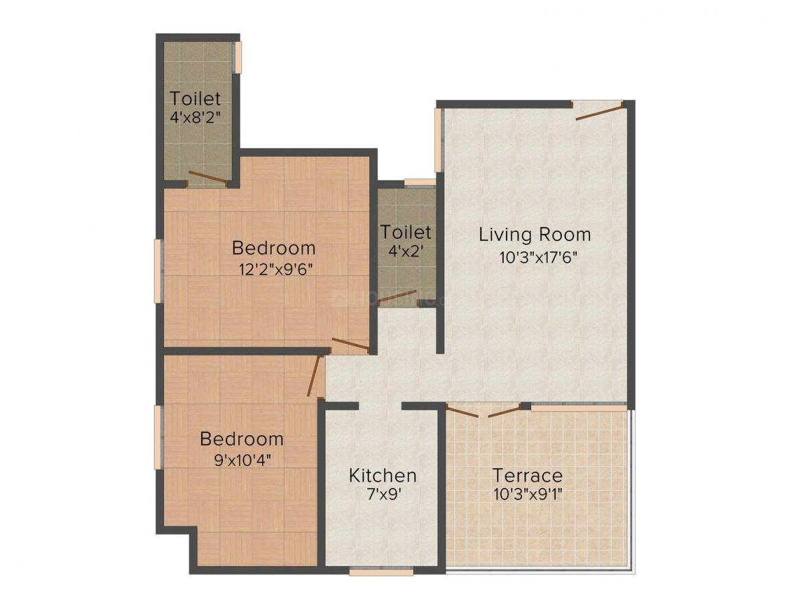 Floor Plan Image of 581 - 865 Sq.ft 2 BHK Apartment for buy in United Sharan
