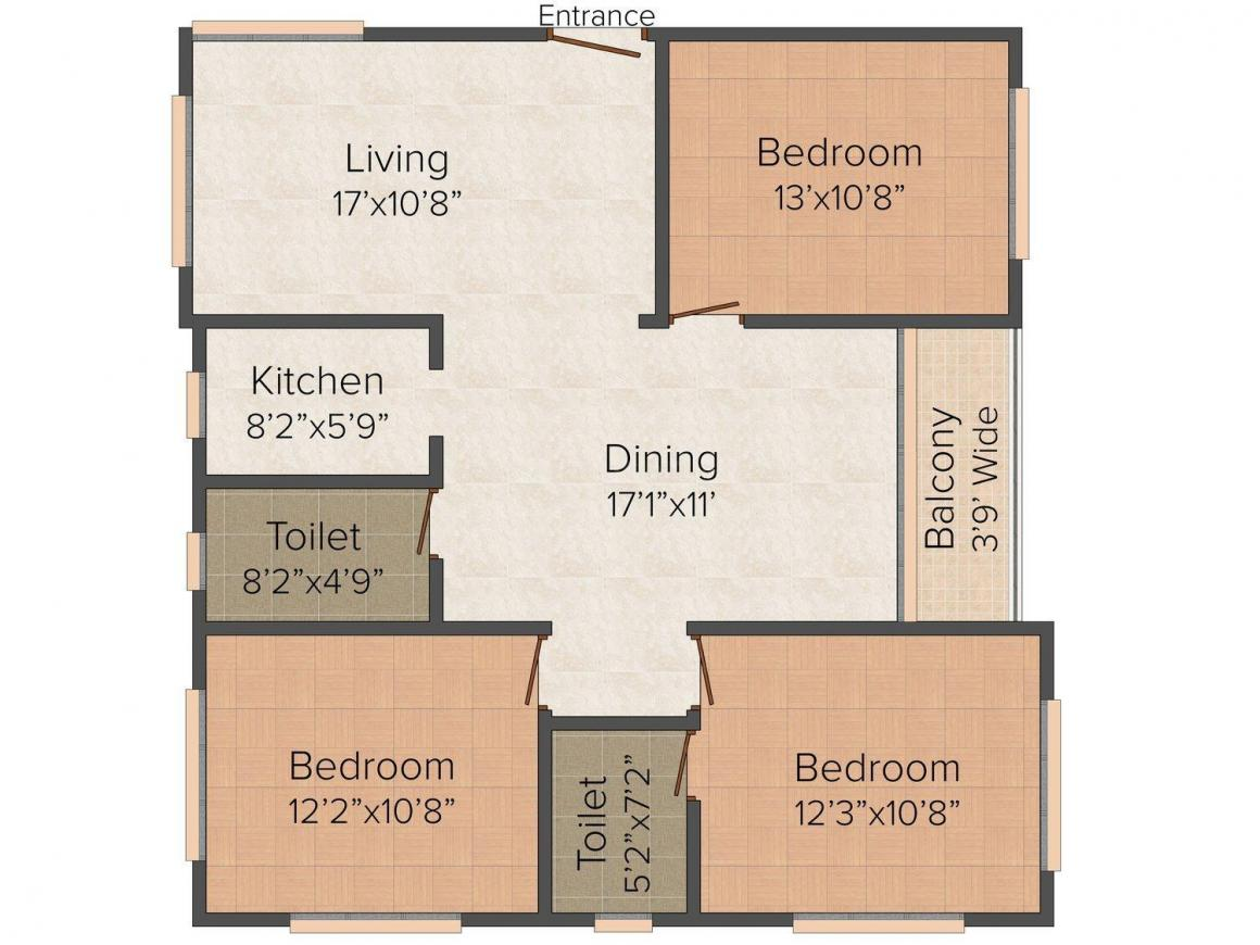 Floor Plan Image of 0 - 1600 Sq.ft 3 BHK Apartment for buy in 249 Nayabad
